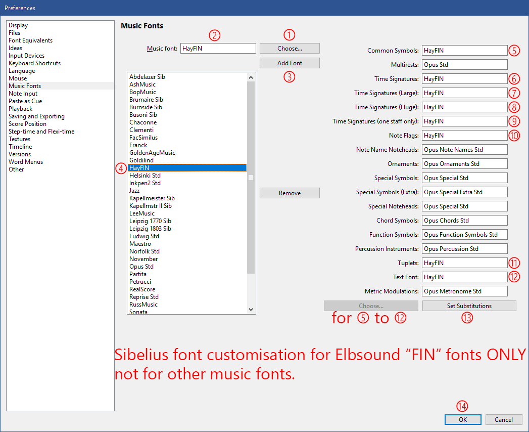 Elbsound how to install finale music fonts in sibelius 6 click choose at the top centre 7 in the choose font popup select hayfin and click ok 8 hayfin should appear in the box music font biocorpaavc